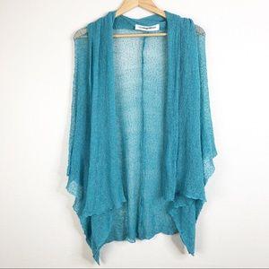 🌿Greater Good Turquoise Teal Cobweb Mesh Cardigan